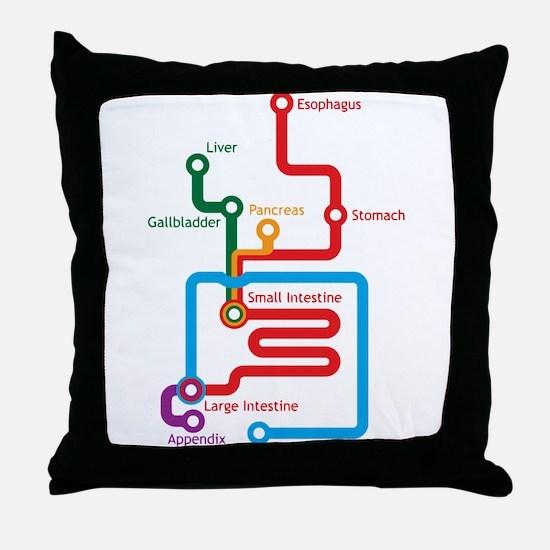 Gastrointestinal Subway Map Throw Pillow