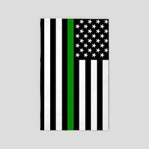 U.S. Flag: Thin Green Line Area Rug