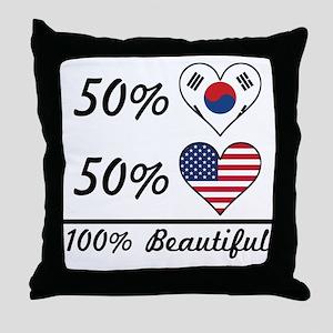 50% Korean 50% American 100% Beautiful Throw Pillo