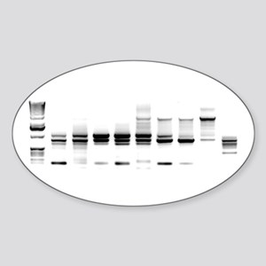 DNA Gel B/W Oval Sticker
