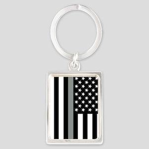 U.S. Flag: Thin Grey Line Portrait Keychain