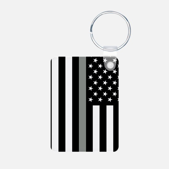 U.S. Flag: Thin Grey Line Keychains
