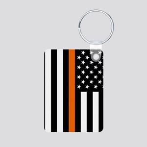 U.S. Flag: Thin Orange Lin Aluminum Photo Keychain