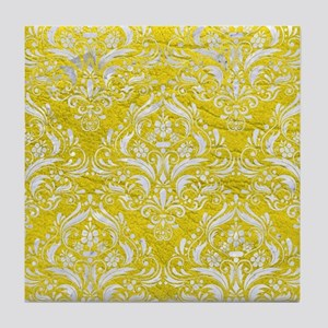 DAMASK1 WHITE MARBLE & YELLOW LEATHER Tile Coaster