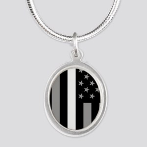 U.S. Flag: Thin White Line Silver Oval Necklace