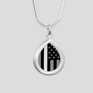 U.S. Flag: Thin White Li Silver Teardrop Necklace