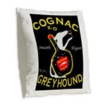 Greyhound Cognac Burlap Throw Pillow