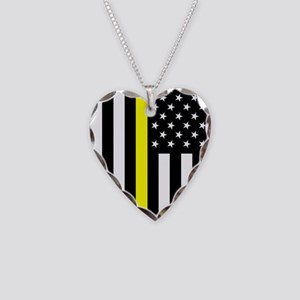 U.S. Flag: Thin Yellow Line Necklace Heart Charm