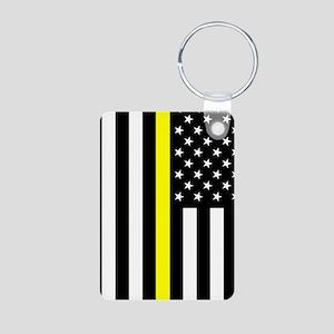 U.S. Flag: Thin Yellow Lin Aluminum Photo Keychain