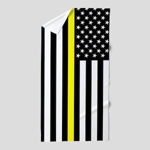 U.S. Flag: Thin Yellow Line Beach Towel