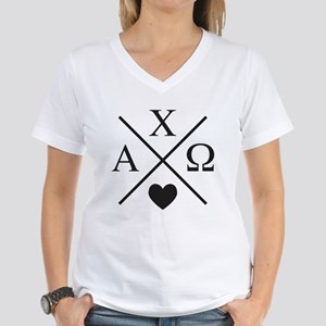 Alpha Chi Omega Cross Women's V-Neck T-Shirt