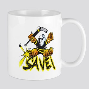 SAVE! hockey goalie pad save logo! Mugs