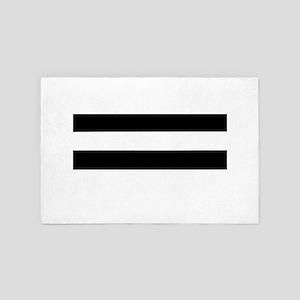 Black and White Striped Stylish Modern 4' x 6' Rug
