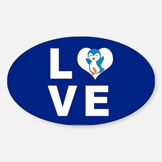 Penguin Love Sticker (Oval)