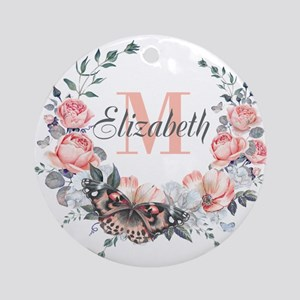 Peach Floral Wreath Monogram Round Ornament