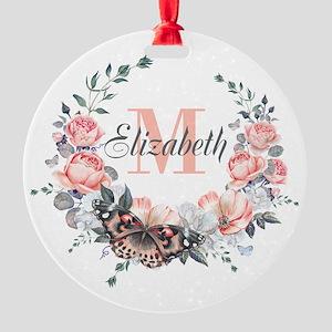 Peach Floral Wreath Monogram Ornament