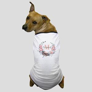 Peach Floral Wreath Monogram Dog T-Shirt