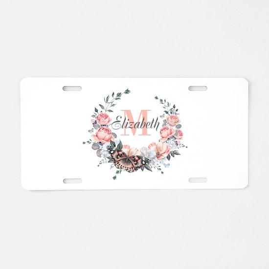 Peach Floral Wreath Monogram Aluminum License Plat