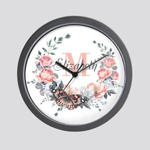 Peach Floral Wreath Monogram Wall Clock