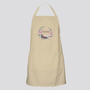 Peach Floral Wreath Monogram Light Apron