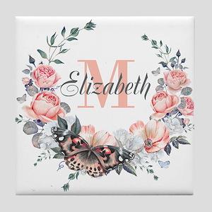 Peach Floral Wreath Monogram Tile Coaster
