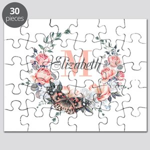 Peach Floral Wreath Monogram Puzzle