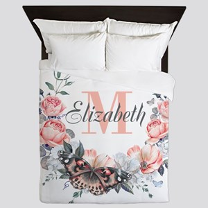 Peach Floral Wreath Monogram Queen Duvet