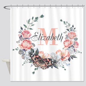 Peach Floral Wreath Monogram Shower Curtain