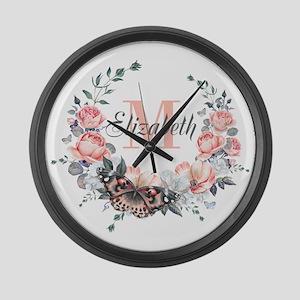 Peach Floral Wreath Monogram Large Wall Clock