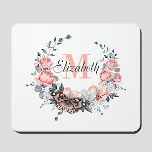 Peach Floral Wreath Monogram Mousepad