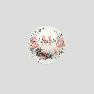 Peach Floral Wreath Monogram Mini Button (10 pack)
