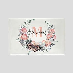 Peach Floral Wreath Monogram Magnets