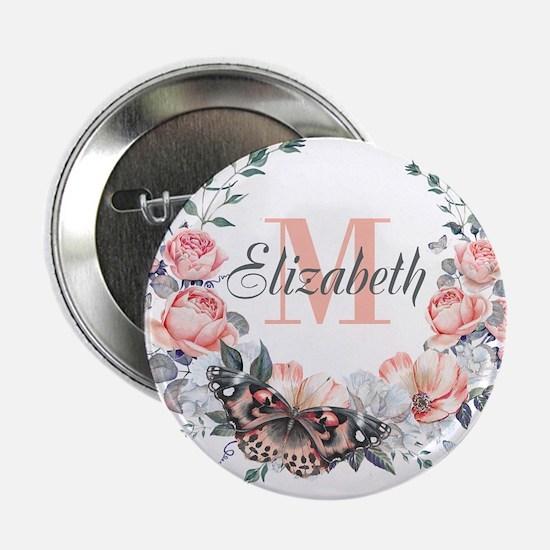 """Peach Floral Wreath Monogram 2.25"""" Button (10 pack"""