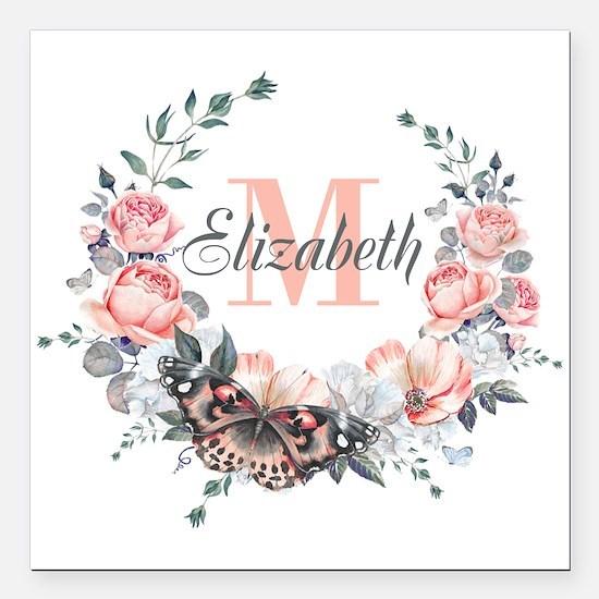 "Peach Floral Wreath Monogram Square Car Magnet 3"""