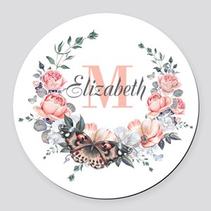 Peach Floral Wreath Monogram Round Car Magnet