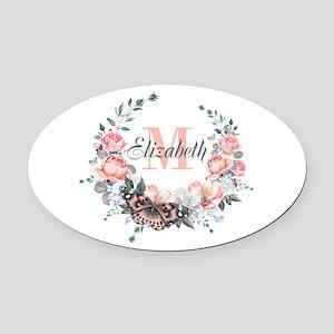Peach Floral Wreath Monogram Oval Car Magnet