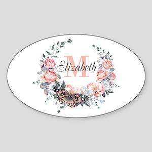 Peach Floral Wreath Monogram Sticker