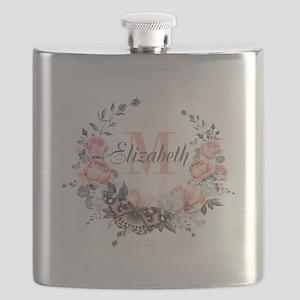 Peach Floral Wreath Monogram Flask