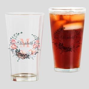 Peach Floral Wreath Monogram Drinking Glass