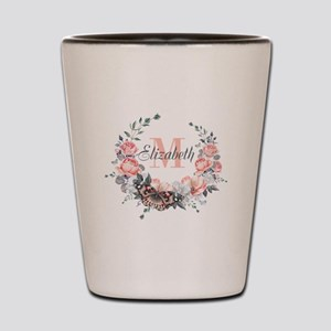Peach Floral Wreath Monogram Shot Glass