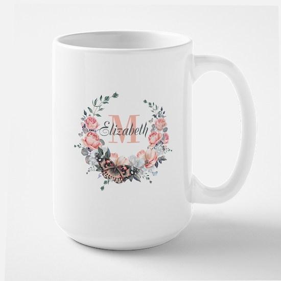 Peach Floral Wreath Monogram Mugs