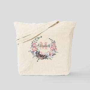 Peach Floral Wreath Monogram Tote Bag