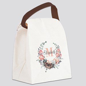 Peach Floral Wreath Monogram Canvas Lunch Bag
