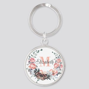 Peach Floral Wreath Monogram Keychains