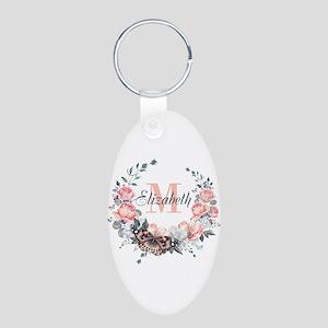 Peach Floral Wreath Monogram Keychains