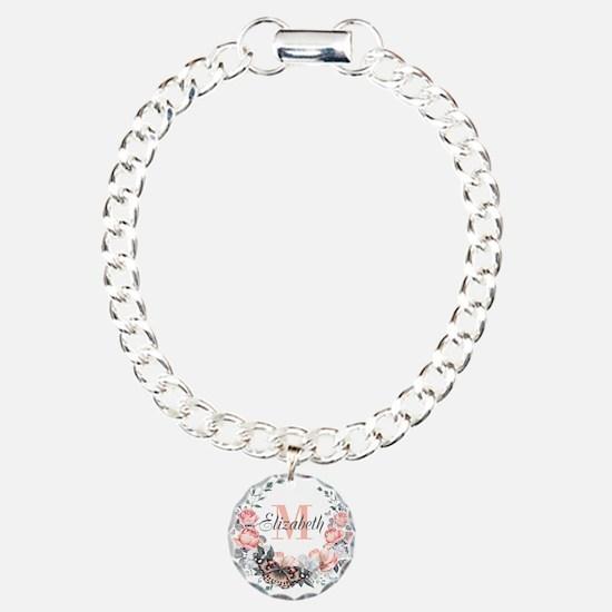 Peach Floral Wreath Monogram Bracelet