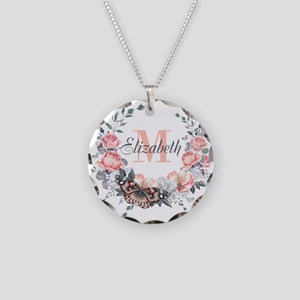 Peach Floral Wreath Monogram Necklace