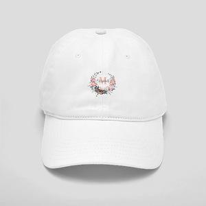 Peach Floral Wreath Monogram Baseball Cap