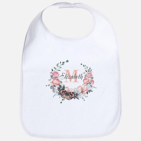 Peach Floral Wreath Monogram Baby Bib