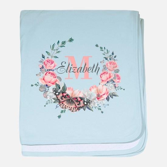 Peach Floral Wreath Monogram baby blanket